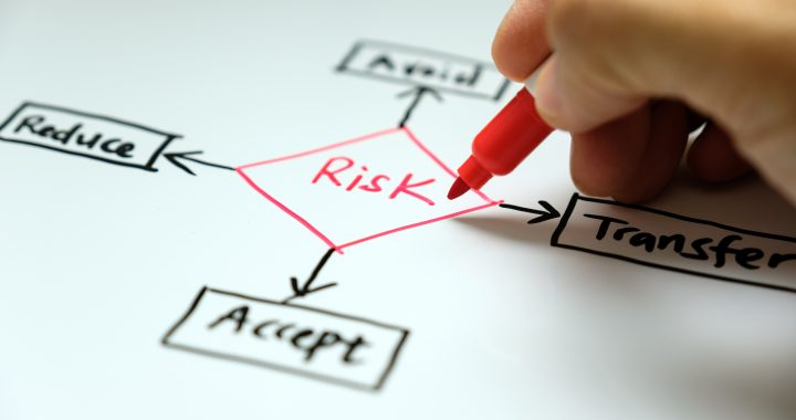 Businessman hand writing risk management concept avoid, accept, reduce and transfer
